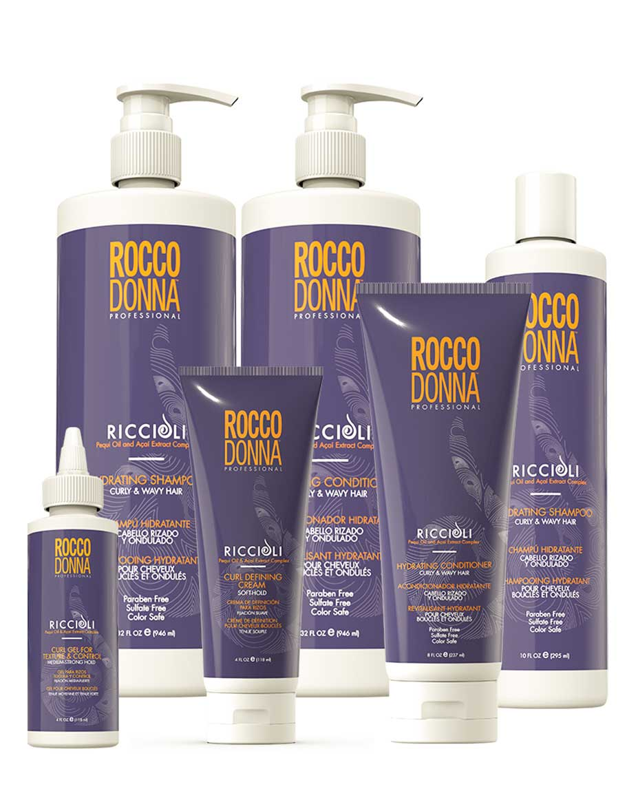 Product Reference: Riccioli Hydrating Shampoo, Riccioli Hydrating, Conditioner, Riccioli Curl Defining Cream, Riccioli Curl Gel for Texture and Control