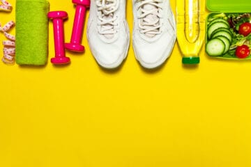 Healthy,Lifestyle,Food,,Sport,Or,Athlete's,Equipment,On,Bright,Background.